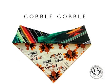 Gobble Gobble : Southwest Plaid Thanksgiving Tie/On, Reversible Dog Bandana