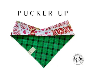 Pucker Up : Saint Patrick's Day Plaid Tie/On, Reversible Dog Bandana