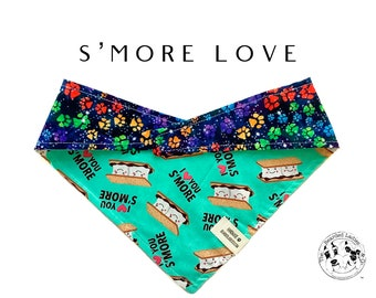 S'more Love : S'mores Outdoor Camping Paw Print Tie/On, Reversible Dog Bandana