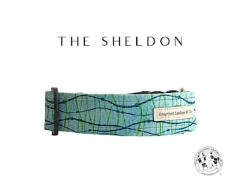 The Sheldon : Teal and Navy Abstract Dog Collar