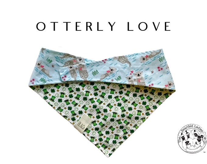 Featured listing image: Valentine's Day Dog // Otterly Love Dog Bandana // Floating Otters with Hearts and Irish Top Hats with Shamrocks Tie/On, Reversible Bandana