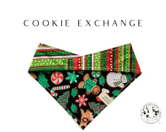 Cookie Exchange : Christmas Cookies And Red and Green Stripes Tie/On, Reversible Dog Bandana