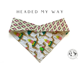 Headed My Way : Neon Camels Tie/On, Reversible Dog Bandana