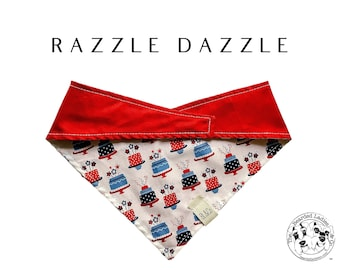 Razzle Dazzle : Summer Red White Blue Cakes Tie/On Reversible Dog Bandana