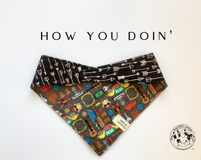 Featured listing image: How You Doin' : Friends Central Perk Tie/On, Reversible Dog Bandana