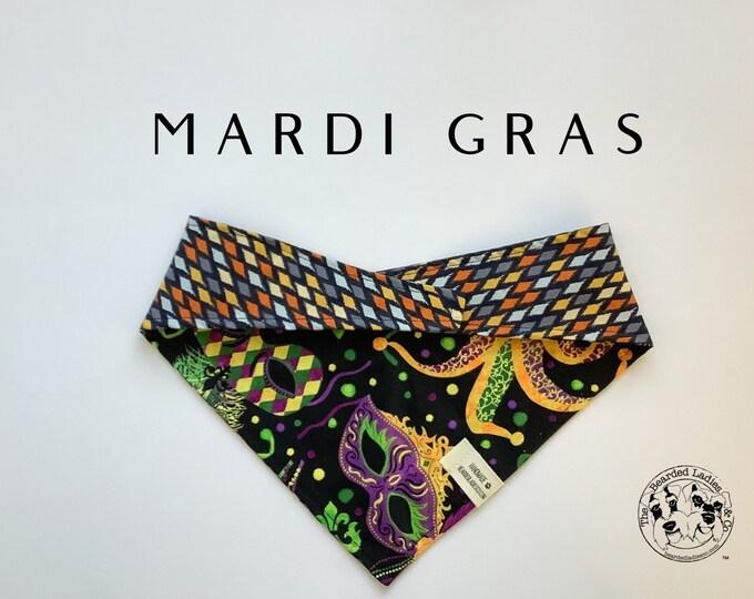 Featured listing image: Mardi Gras : Masks and Beads Tie/On, Reversible Dog Bandana
