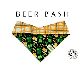 Beer Bash :  Saint Patrick's Day Beer Tie/On, Reversible Dog Bandana