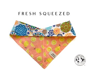 Fresh Squeezed : Lemons Tie/On, Reversible Dog Bandana