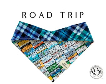 Road Trip : License Plates & Spring Teal Plaid Tie/On,  Reversible Dog Bandana