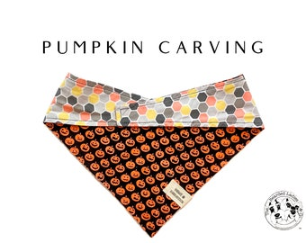 Pumpkin Carving  : Halloween Jack-o-lanterns Tie/On Dog Bandana