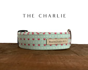 Valentine's Day Dog Collar // The Charlie : Hugs, Kisses and Hearts on Mint Dog Collar