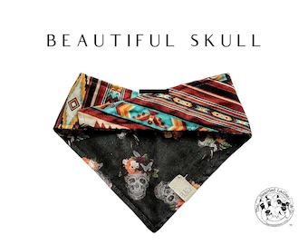 Beautiful Skull : Skulls with Flower Crowns and Southwest Print Tie/On Reversible Dog Bandana