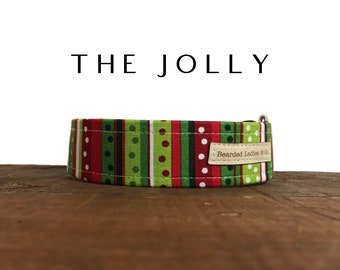 The Jolly: Red & Green Stripes with Holiday Polka Dots Dog Collar