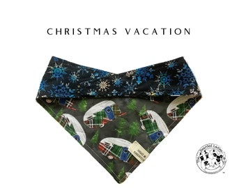 Christmas Vacation : Snowy Campers and Blue Snowflakes Tie/On Reversible Dog Bandana