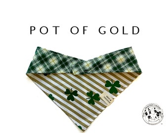 Pot Of Gold : Reversible , Tie/On, Reversible Dog Bandana
