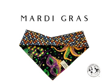 Mardi Gras : Masks and Beads Tie/On, Reversible Dog Bandana
