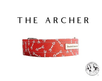 The Archer : Red with Hearts and Arrows Dog Collar