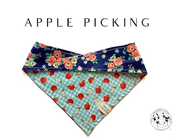 Apple Picking : Blue Check with Apples and Pink and Blue Floral Tie/On, Reversible Dog Bandana