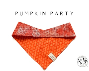 Pumpkin Party : Fall Mini Pumpkins Tie/On, Reversible Dog Bandana