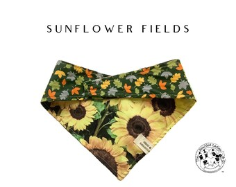 Sunflower Fields : Sunflowers and Leaves Tie/On Reversible Dog Bandana