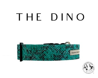 The Dino : Green and Black Dog Collar