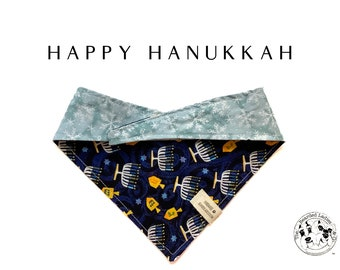 Happy Hanukkah: Hanukkah Tie/On, Reversible Dog Bandana
