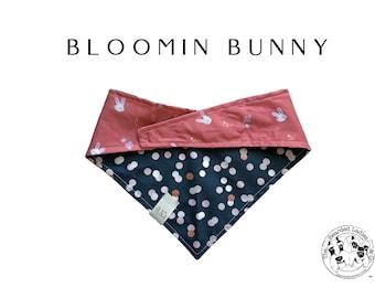 White Easter Bunnies with Pink and White Polka Dots Bandana // Bloomin Bunny : Tie, Reversible Dog Bandana