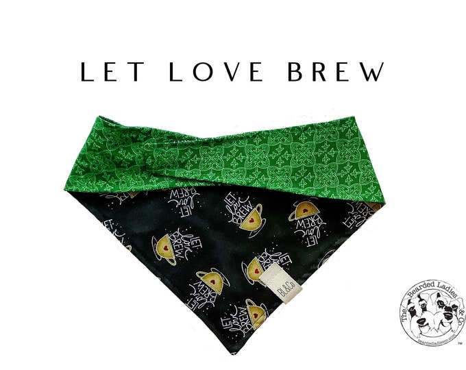 Featured listing image: Let Love Brew : Coffee Cups with Hearts and Green Celtic Design Tie/On, Reversible Dog Bandana