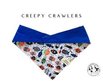Creepy Crawlers : Bugs with Solid Blue Tie/On, Reversible Dog Bandana