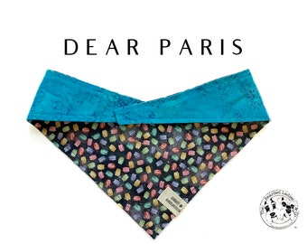 Dear Paris : Macaroons with Speckled Blue Tie/On, Reversible Dog Bandana