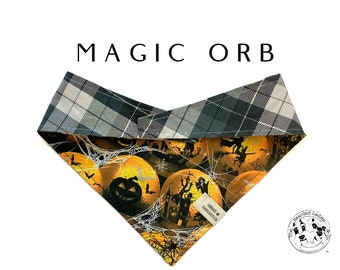 Magic Orb : Halloween Orbs & Black and Gray Plaid Tie/On, Reversible Dog Bandana