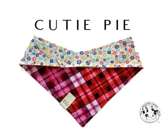 Cutie Pie : Distressed Red Plaid with Mini Flowers Tie/On, Reversible Dog Bandana
