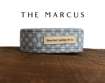 The Marcus : Blue with White Polka Dog Collar
