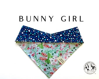 Bunny Girl : Bunnies with Bows and Polka Dot Tie/On Reversible Dog Bandana