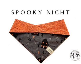 Spooky Night : Halloween Haunted House Tie/On, Reversible Dog Bandana