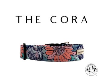 The Cora : Coral an Teal Floral Dog Collar
