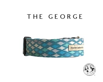 The George : Teal and White Diamond Dog Collar