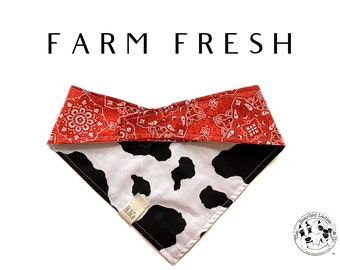 Farm Fresh : Cow Print and Traditional Bandana Print Tie/On, Reversible Dog Bandana