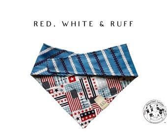 American Flag and Blue Stripes Dog Bandana // Red, White & Ruff Tie/On Reversible Dog Bandana