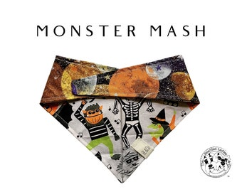 Monster Mash : Fun Dancing Monsters with Planets and Moons Tie/On Reversible Dog Bandana