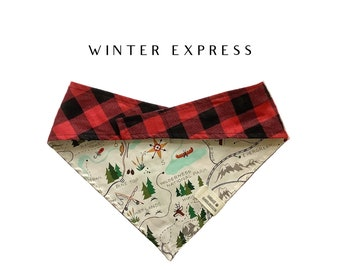 Winter Express : Trail Map with Buffalo Check Tie/On Reversible Dog Bandana