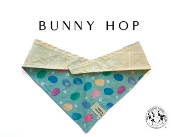 Bunny Hop : Multicolor Easter Eggs with Yellow Plaid Tie/On Reversible Dog Bandana