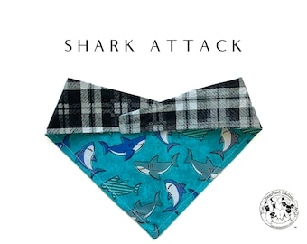 Shark Attack : Blue Sharks with Black and Gray Plaid Tie/On, Reversible Dog Bandana