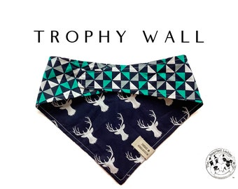 Trophy Wall : Deer with Geometric Tie/On, Reversible Dog Bandana