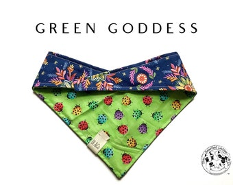 Green Goddess : Lady Bugs and Bright Floral Tie/On Reversible Dog Bandana