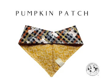 Pumpkin Patch : Golden Yellow Pumpkin Print with Autumn Plaid Deer Heads Tie/On Reversible Dog Bandana