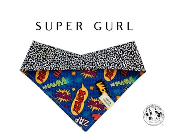 Super Gurl : Comic Book Inspired  with Black & White Floral  Tie/On, Reversible  Bandana