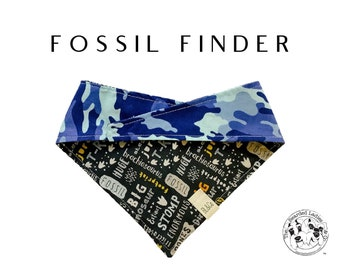 Fossil Finder : Dinosaur Tracks with Fossils and Blue Camouflage Tie/On, Reversible Dog Bandana