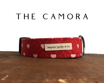 The Camora : Red with Pink Hearts Dog Collar