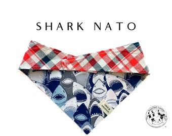 Shark Nato : Summer Red, White & Blue Sharks Tie/on, Reversible Dog Bandana
